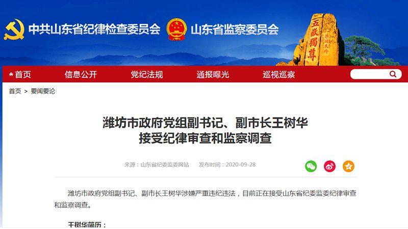 潍坊市政府党组副书记、副市长王树华 接受纪律审查和监察调查